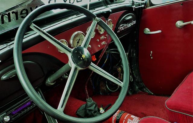 interiér starého vozu